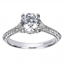 14k White Gold 0.32ct Diamond Gabriel & Co Split Shank Semi Mount Engagement Ring