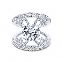 Gabriel & Co 14k White Gold Split Shank Diamond Engagement Ring