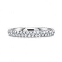 Precision Set Comfort Fit Collection Two Row 18K White Gold Diamond Eternity Wedding Band