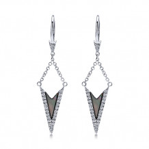 14k White Gold Gabriel & Co. Black Mother of Pearl Diamond Drop Earrings