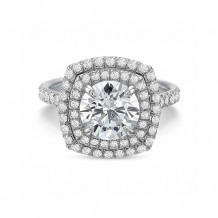 Precision Set New Aire Double 18K White Gold Diamond Halo Engagement Ring