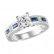 14k White Gold 1/2ct Diamond and Sapphire Semi Mount Engagement Ring
