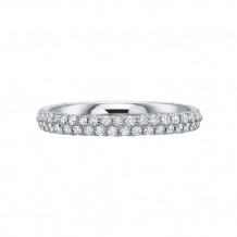 Precision Set Classic Comfort Fit Collection 14K White Gold Two Rows Diamond Wedding Band