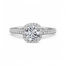 Precision Set New Aire Collection 18K White Gold Diamond Halo Engagement Ring