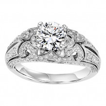 14k White Gold 3/8ct Diamond  Semi Mount Engagement Ring