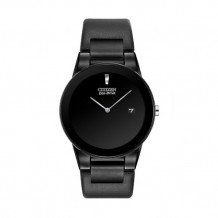 Citizens Eco Drive Black Axiom With Black Leather Band