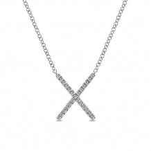 14k White Gold Gabriel & Co. Diamond Indulgence Bar Necklace