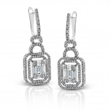 Simon G 18k White Gold 1.40ctw Diamond Drop Earrings