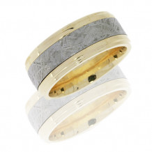 14k White Gold with Meteorite Inlay Wedding Band