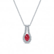14k White Gold Gabriel & Co. Diamond And Ruby Fashion Necklace