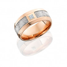14k Rose Gold Diamond and Meteorite Inlay Wedding band