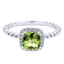 14k White Gold Gabriel & Co. Diamond Peridot Stackable Ring
