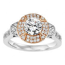 14k Two Tone Gold 1/5ct Diamond  Semi Mount Engagement Ring