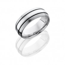 Lashbrook Titanium Sterling Silver Domed Antique Edge Men's Wedding Band