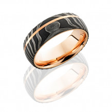 Damascus Steel and 14k Rose Gold Domed Wedding Band