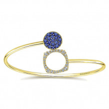 14k Yellow Gold Gabriel & Co. Diamond And Sapphire Bangle Bracelet