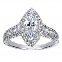 14k White Gold 0.62ct Diamond Gabriel & Co Halo Semi Mount Engagement Ring