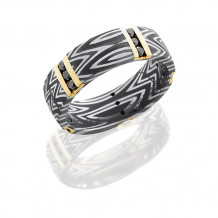 Damascus Steel and 14k Yellow Gold With Black Diamond Wedding Band