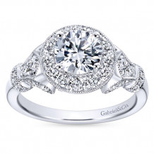 14k White Gold 0.65ct Diamond Gabriel & Co Halo Semi Mount Engagement Ring