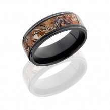Zirconium with Kings Field Camo Inlay Wedding Band