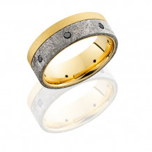 18k Yellow Gold, Meteorite and Black Diamond Wedding Band