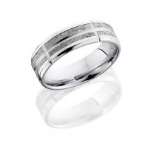 14k White Gold with Meteorite Segments Wedding Band