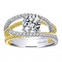 14k Two Tone Gold 0.24ct Diamond Gabriel & Co Free Form Semi Mount Engagement Ring