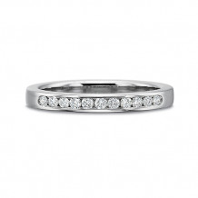 Precision Set Classic Collection 14K White Gold Eleven Round Brilliant Cut Channel Set Diamond Wedding Band