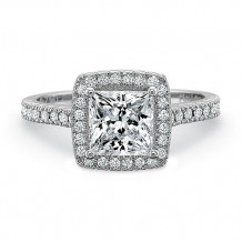 Precision Set Petite FlushFit Collection Pave Diamond Square Halo Engagement Ring