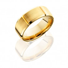 14K Yellow Gold with Beveled Edges Wedding Band
