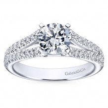 14k White Gold 0.40ct Diamond Gabriel & Co Split Shank Semi Mount Engagement Ring
