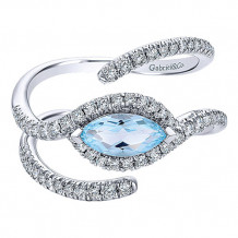 14k White Gold Gabriel & Co. Diamond and Blue Topaz Fashion Ring