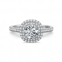 Precision Set New Aire Double 14K White Gold Diamond Halo Engagement Ring