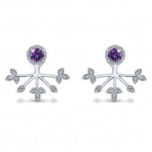 14k White Gold Gabriel & Co. Diamond Amethyst Peek A Boo Earrings