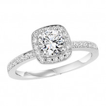 14k White Gold 1/4ct Diamond Engagement Ring with 5/8ct Center Stone
