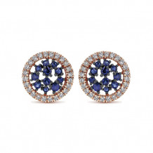 14k Two Tone Gold Gabriel & Co. Diamond Blue Sapphire Stud Earrings