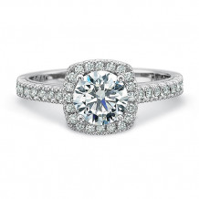 Precision Set Petite FlushFit Collection Pave Diamond Cushion Halo Engagement Ring