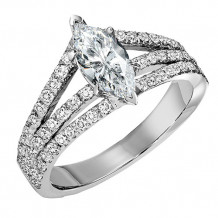 14k White Gold 7/8ct Diamond Engagement Ring with 1ct Marquise Center Stone