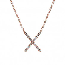 14k Rose Gold Gabriel & Co. Diamond Indulgence Bar Necklace