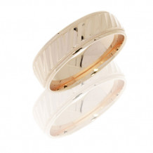 14K Yellow Gold Striped Pattern with Milgrain Wedding Band
