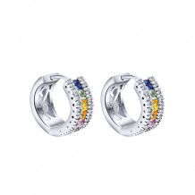14k White Gold Gabriel & Co. Diamond Multi Gemstone Huggie Earrings