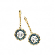 14K Yellow Gold 1/2ct Blue & White Diamond Rhythm Of Love Earrings