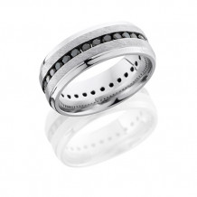 Platinum 8mm Black Diamond Eternity Wedding Band
