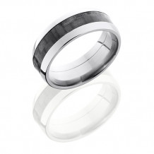 Titanium with 4mm Carbon Fiber Inlay Domed Wedding Band