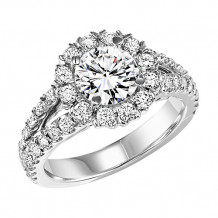 14k White Gold 1 1/7ct Diamond Semi Mount Engagement Ring