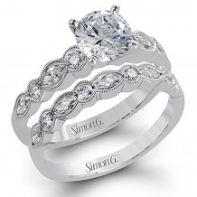 Simon G 18k White Gold 0.74ctw Diamond Semi Mount Engagement Ring and Wedding Band Set