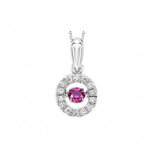 10k White Gold 1/5ct Pink Sapphire Rhythm Of Love Pendant
